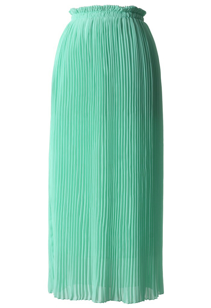 Mint Blue Chiffon Pleated Maxi Skirt