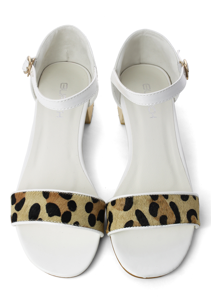 Leopard Strappy Heeled Sandals in White