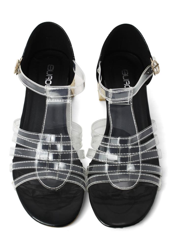 Transparent Top Heeled Sandals in Black