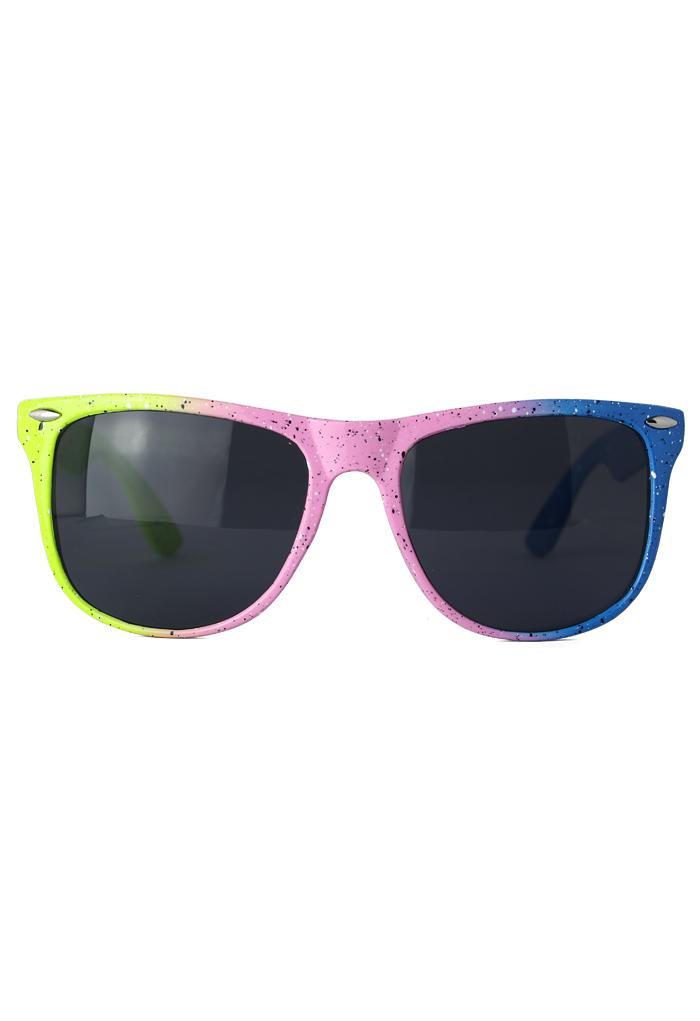 Retro Spot Color Block Frame Sunglasses