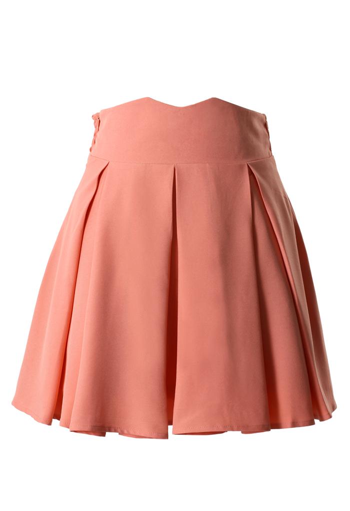Peach Pink High Waist Pleated Skater Skirt