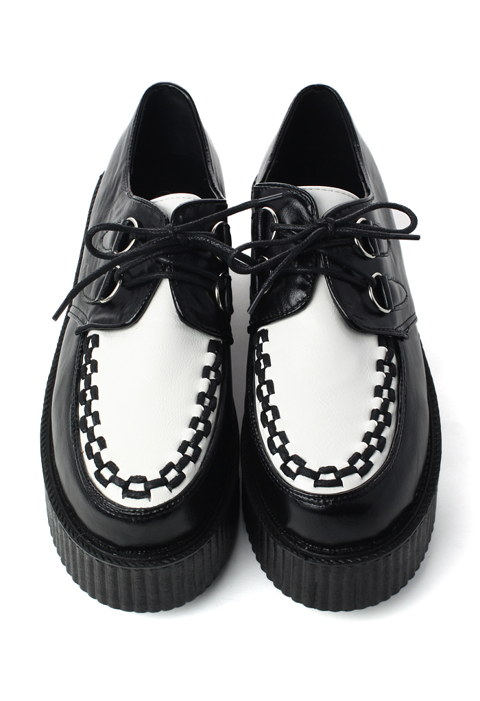 Creeper Platforms Shoes in Black/White