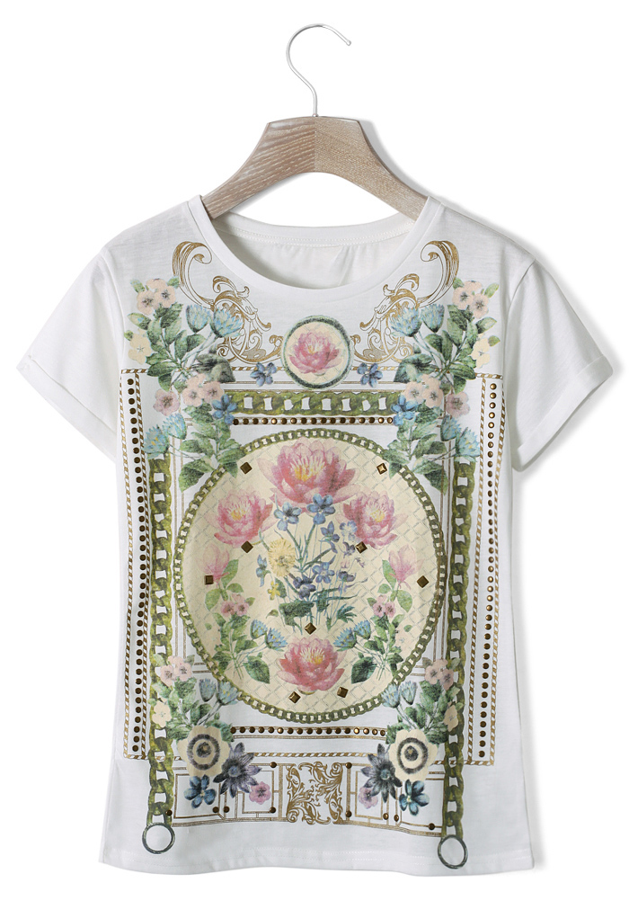 Retro Floral Painting T-shirt in White