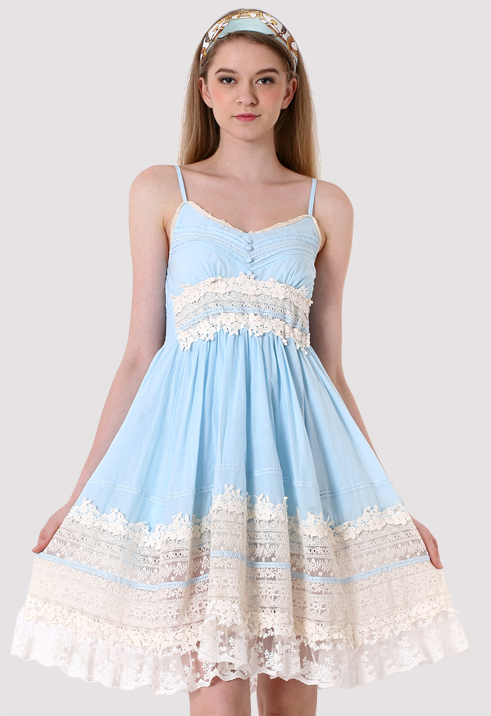 Got A Date Blue Lace Dress