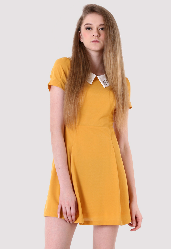 Daisy Peter Pan Collar Dolly Dress in Mustard