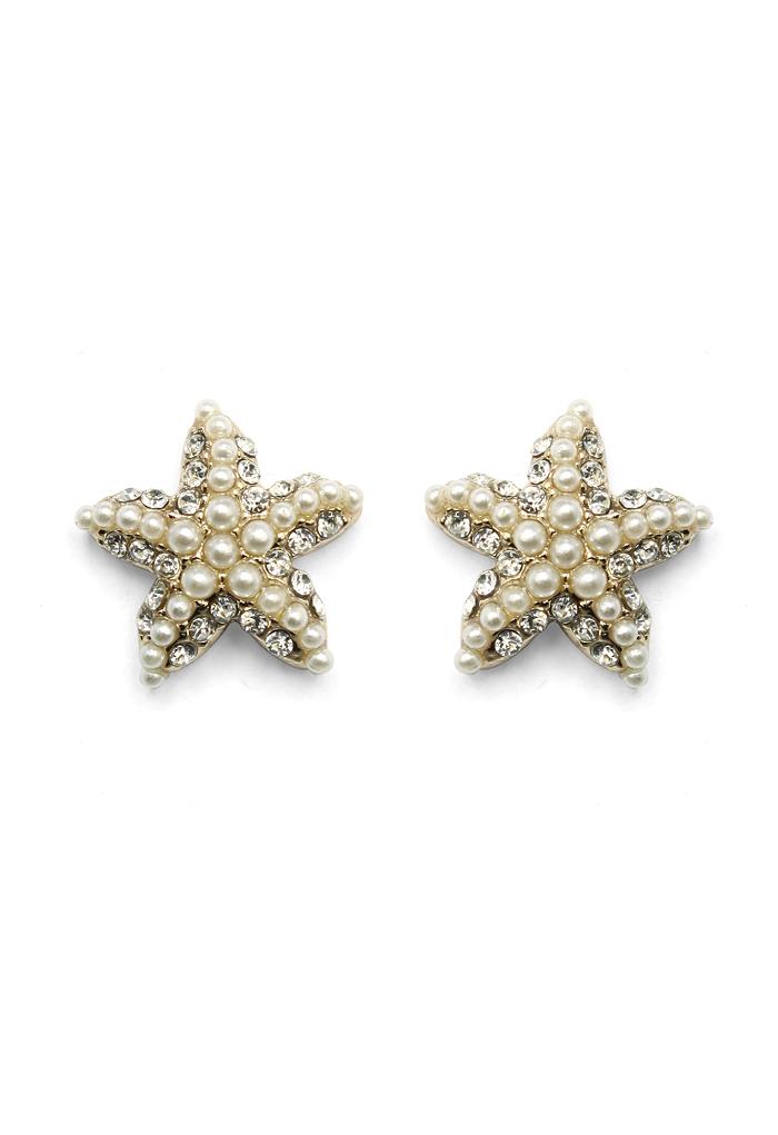 Crystal Pearl Beads Starfish Earrings