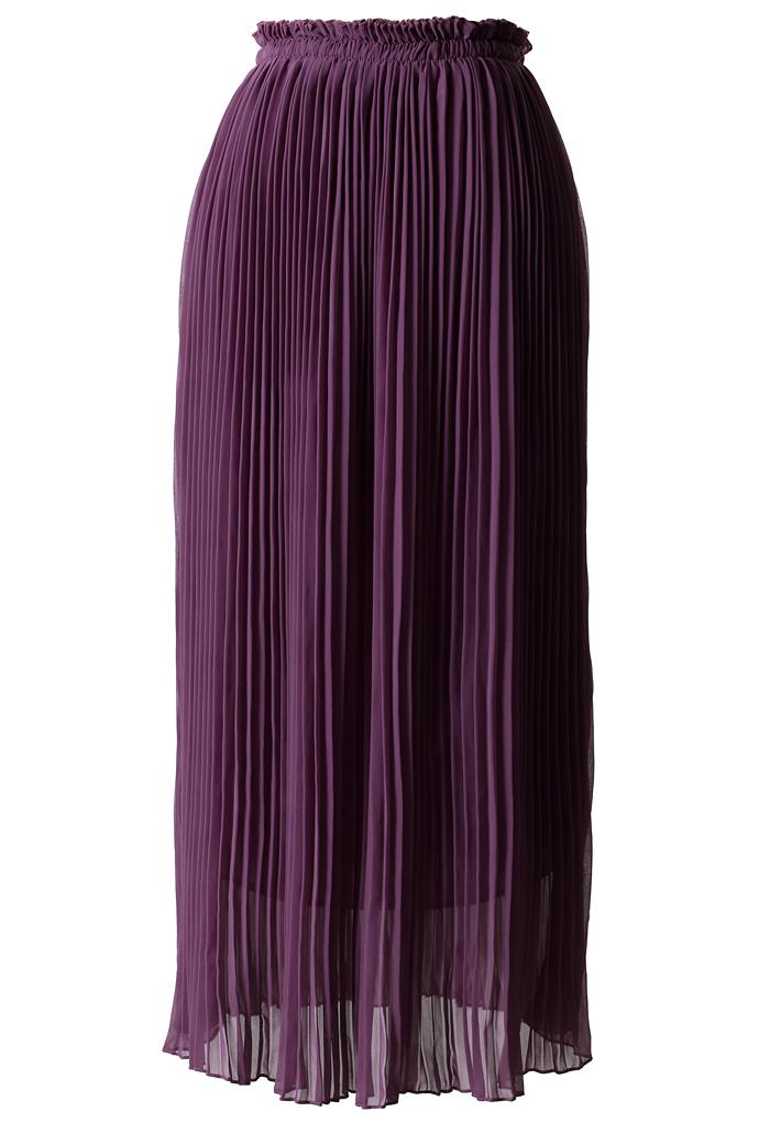 Purple Chiffon Pleated Maxi Skirt