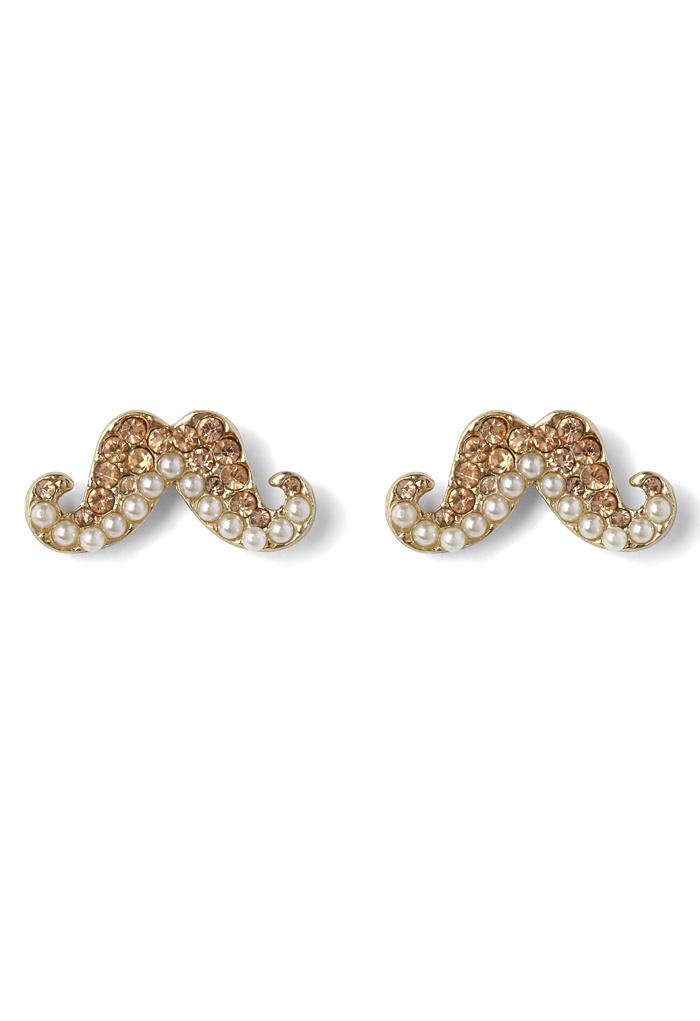 Crystal Pearl Beads Moustache Earrings