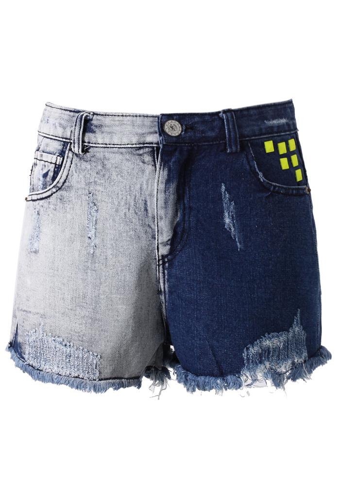 Washed Stud Denim Cutoff Shorts