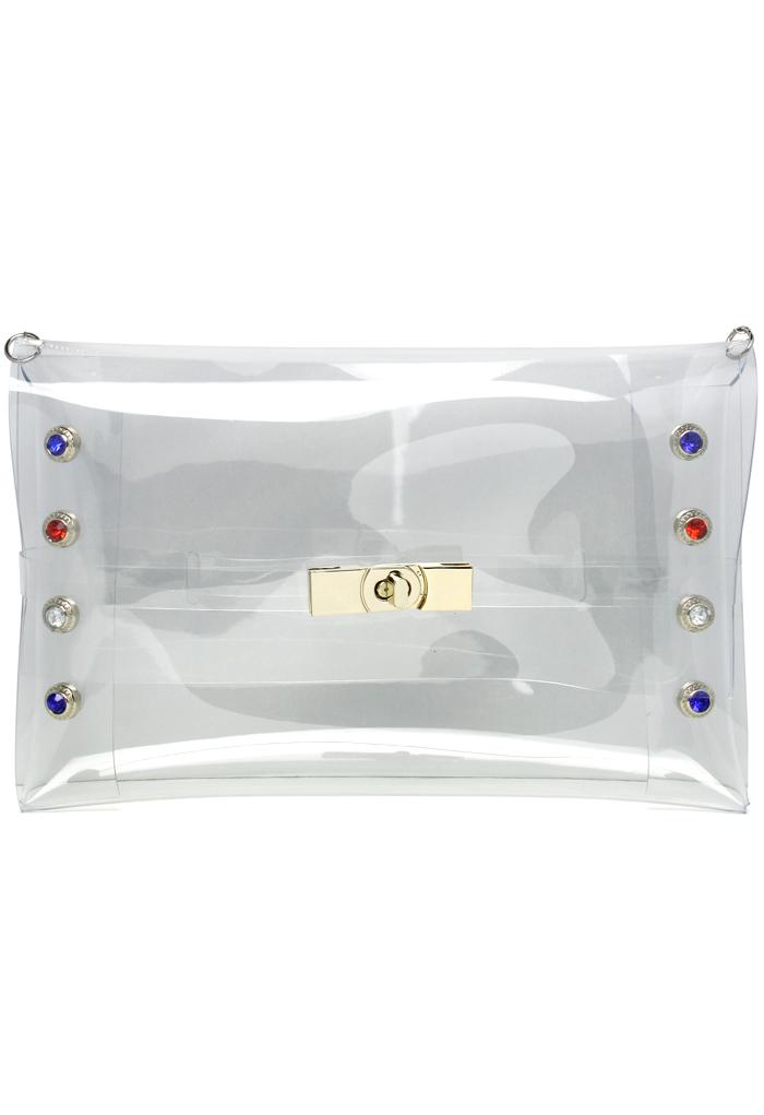 Transparent Diamond Trim Clutch