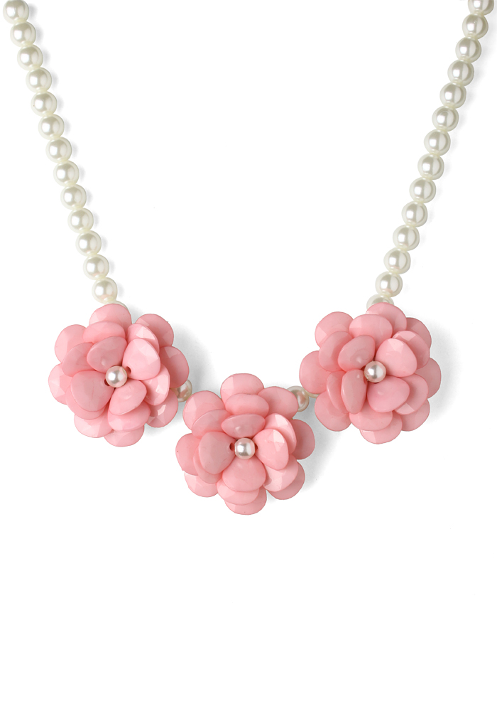 Pink Flower Pearl Necklace