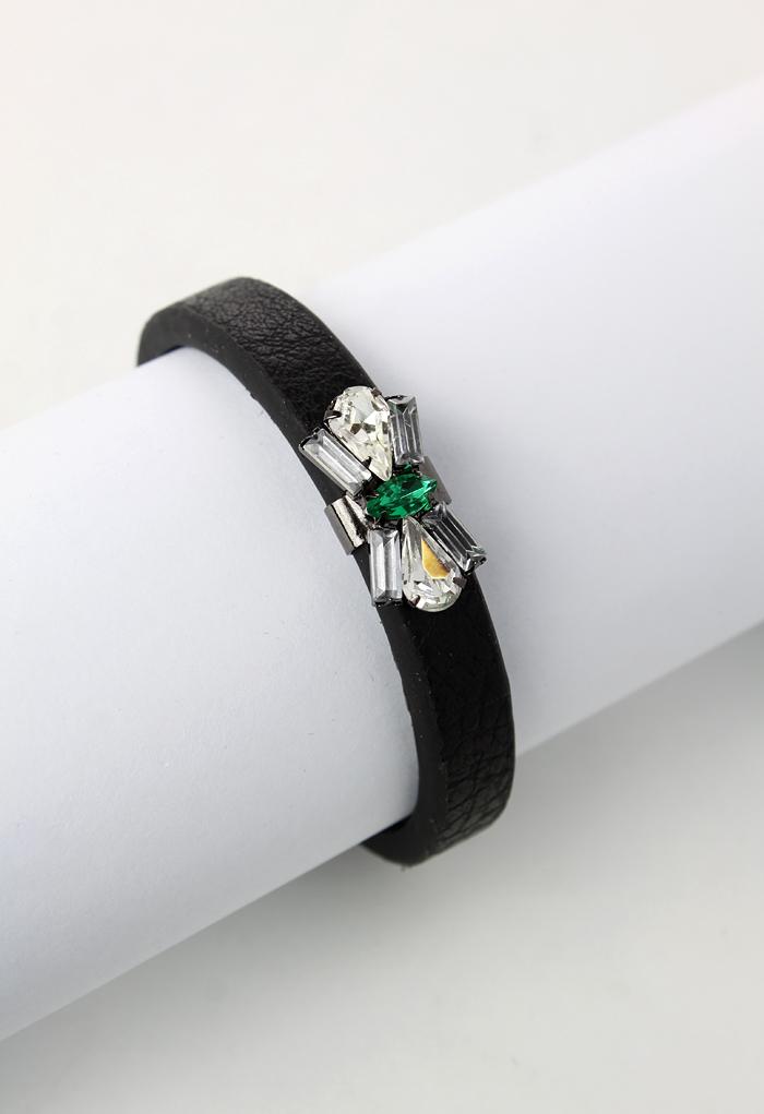 Bow Crystal Leather Bracelet