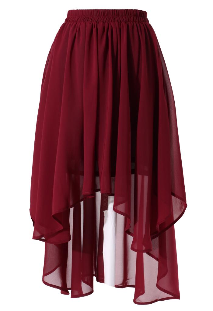 Wine Red Asymmetric Waterfall Skirt