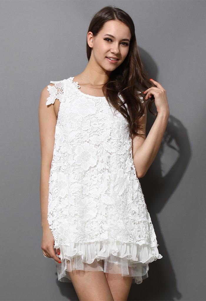 Full Crochet Floral White Dress with Fluted Hemline