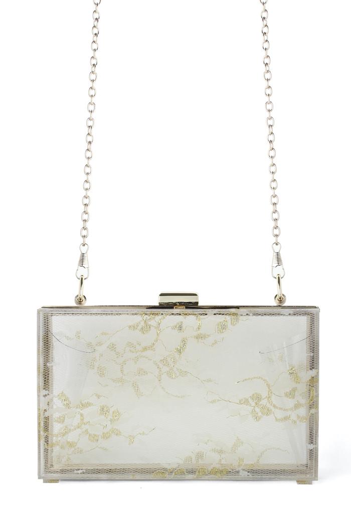 Golden Lace Hardcase Clutch