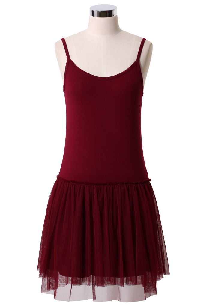 Ballet Tulle Dress in Wine Red