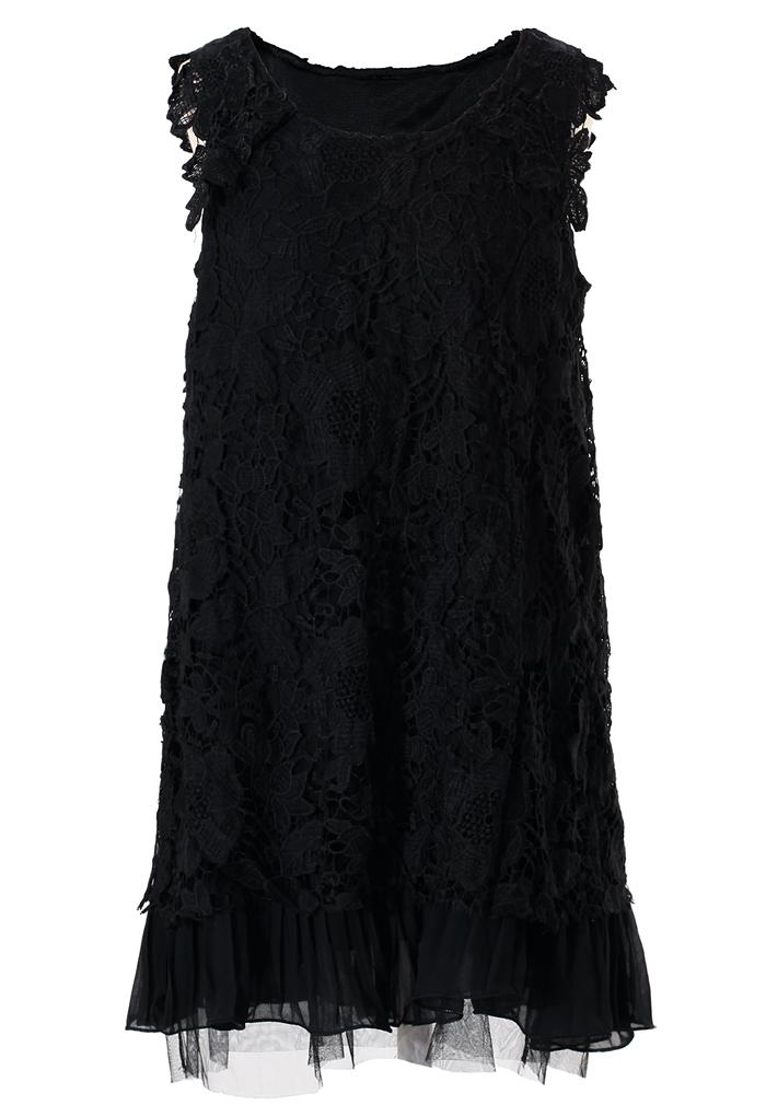 Full Crochet Floral Black Dress with Fluted Hemline