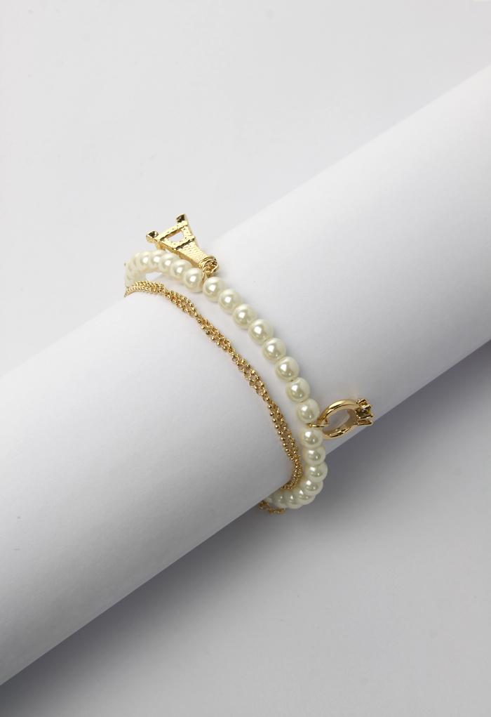 Eiffel Tower Pearl-style Bracelet