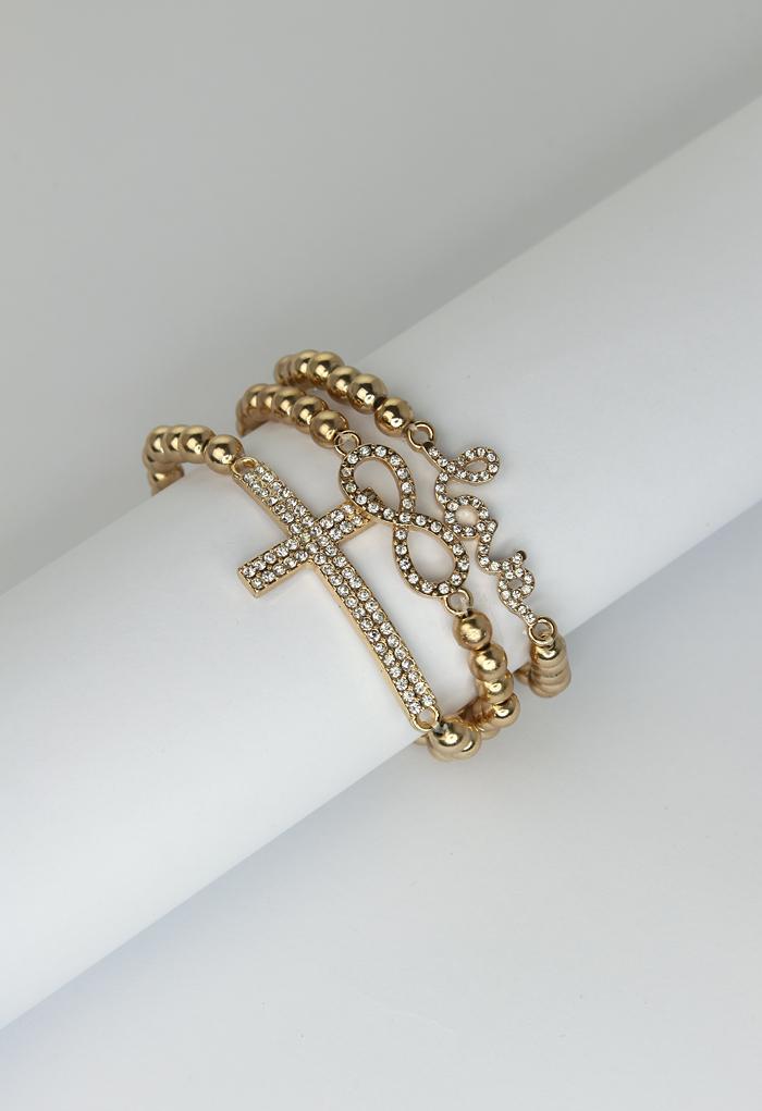Beaded Cross Bow Love Bracelet Set