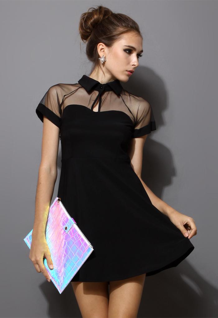 Mesh Peak Collar Skater Dress in Black