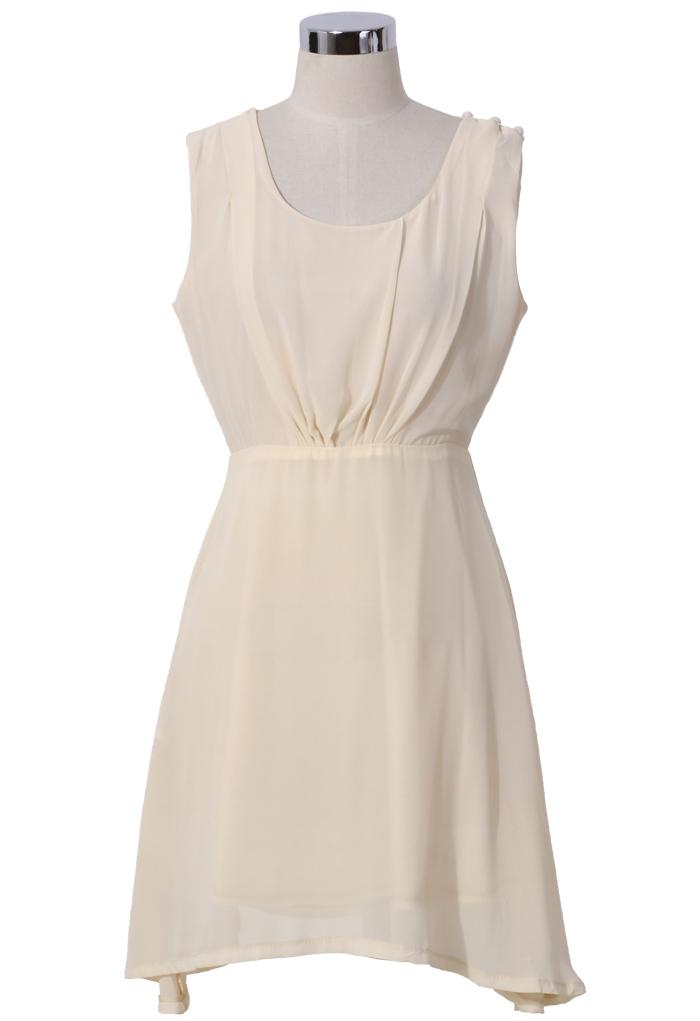 Chiffon Open-back Dress in Ivory