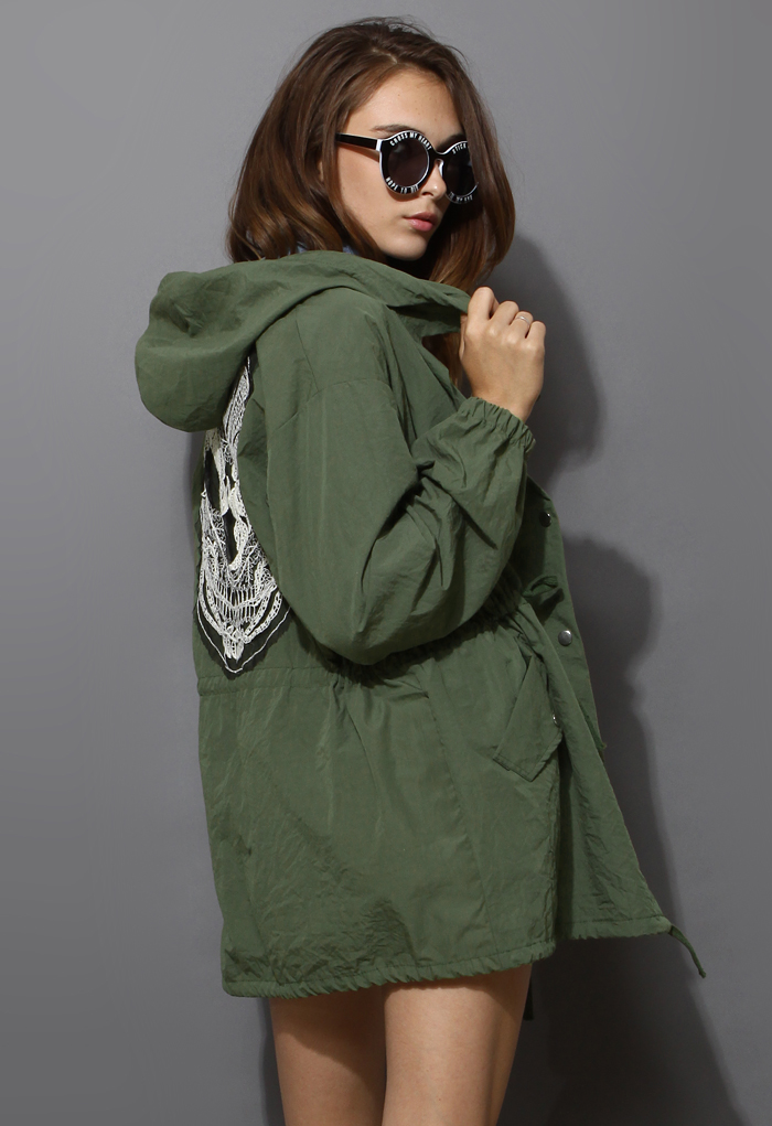 Lace Skull Detail Armygreen Military Coat