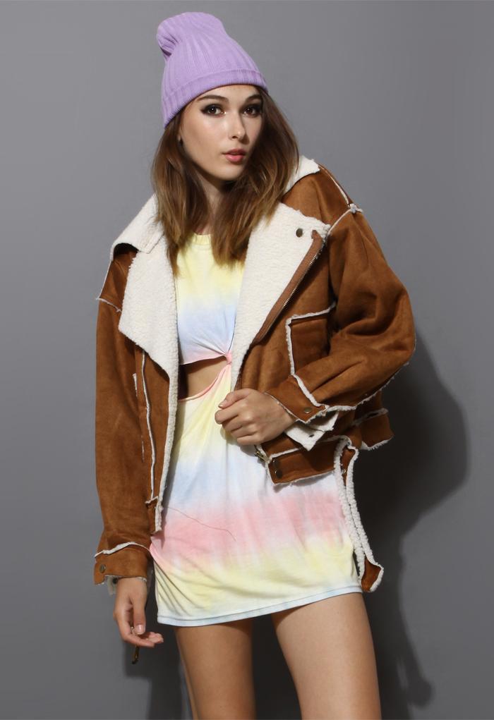 Faux Fur Camel Coat with Belt