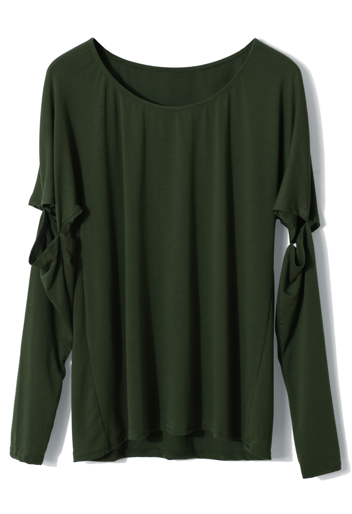 Dark Green Top with Cut Out Sleeves