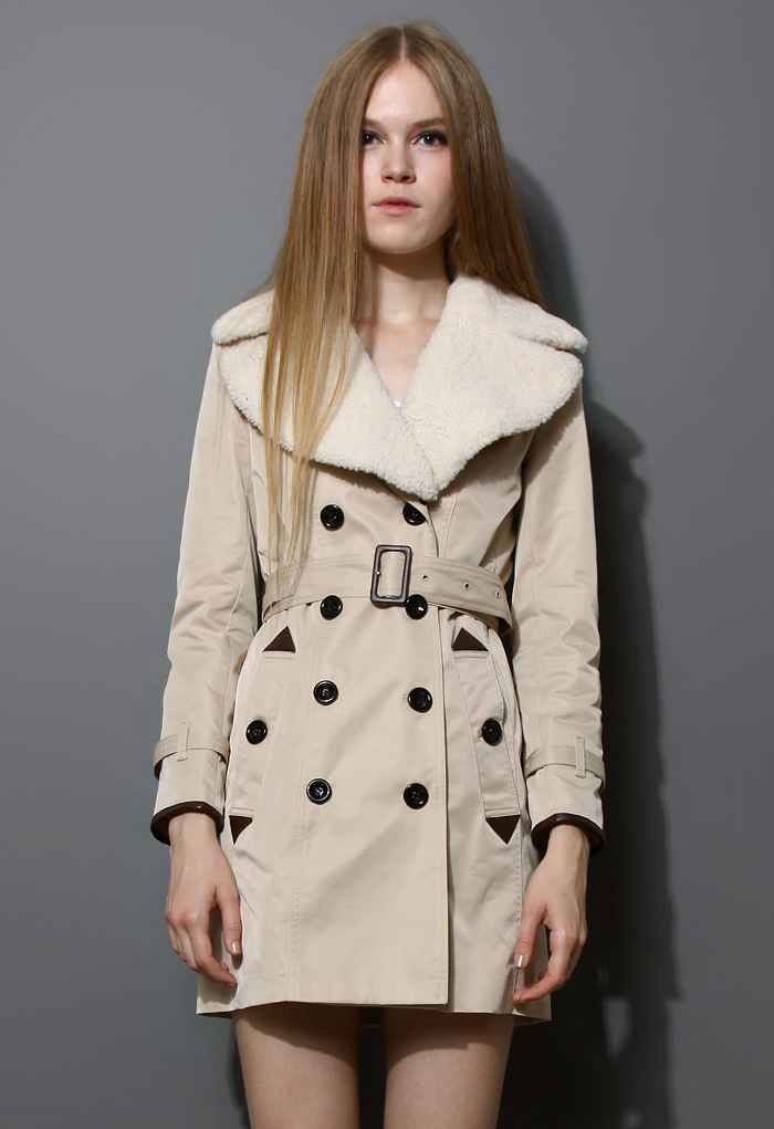 Double Breasted Long Trench Coat with Lambswool Collar