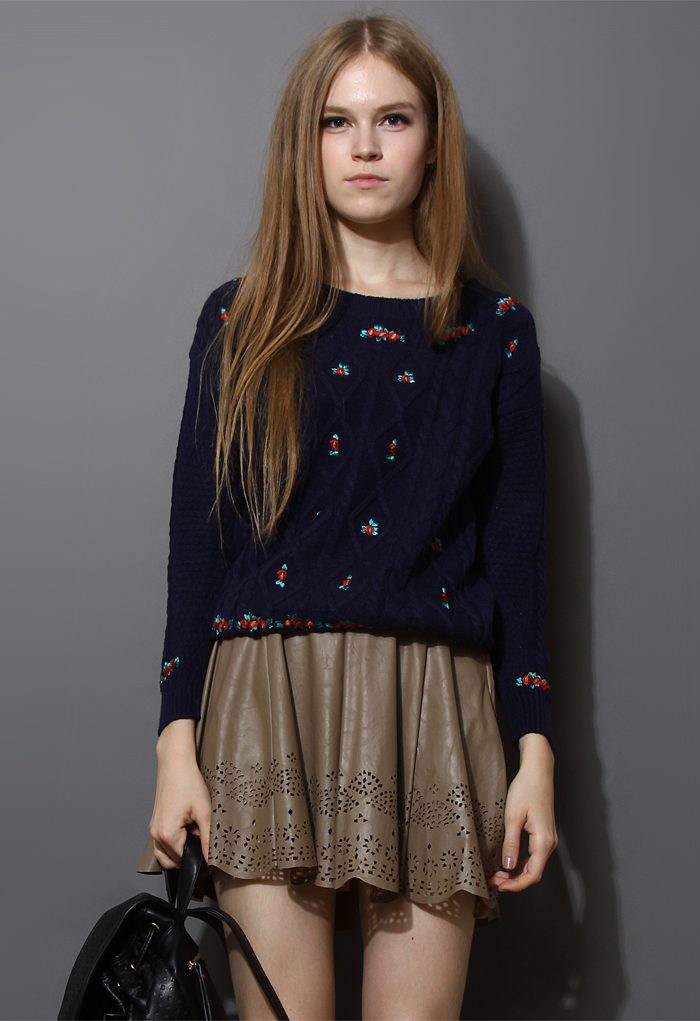 Floral Embroidered Cable Knit Sweater in Navy