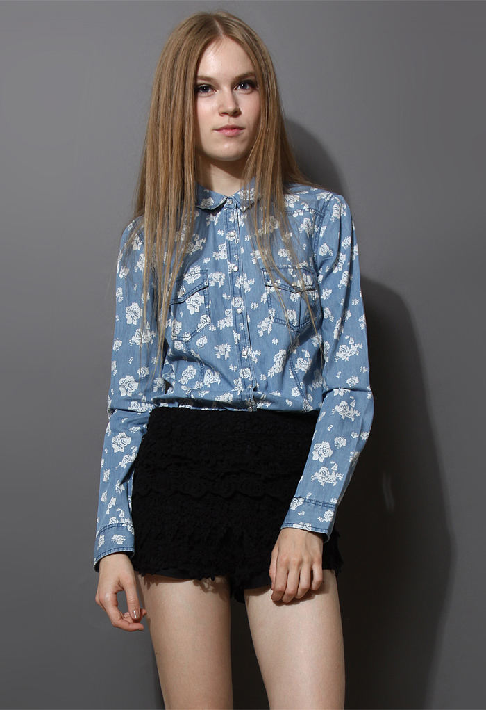 Full Floral Print Denim Shirt