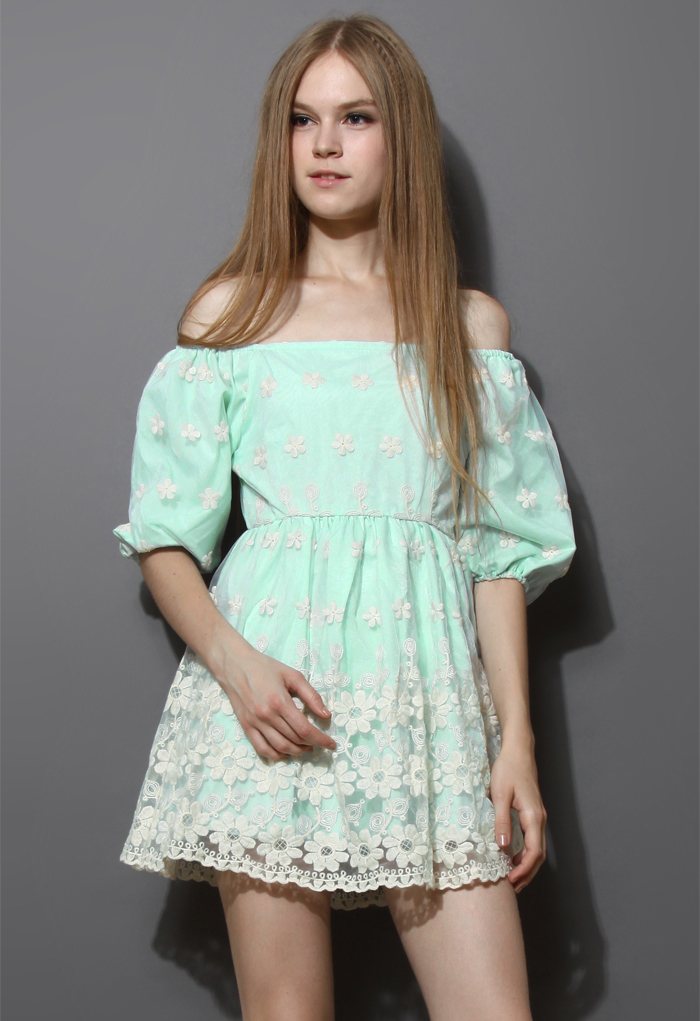 Floral Embroidery Organza Dress in Mint Blue