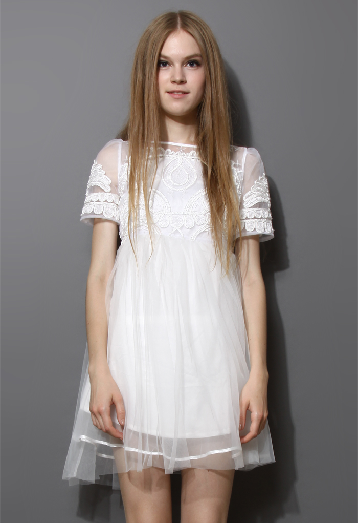 Embossed Tulle White Dolly Dress