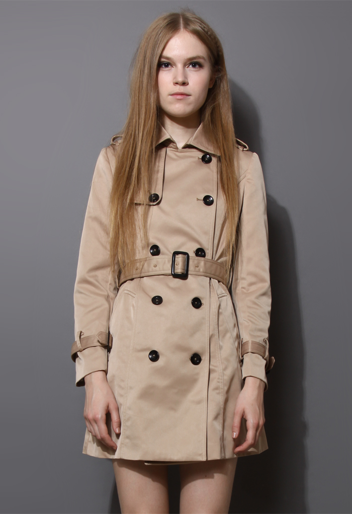 Classic Double Breasted Belted Trench Coat
