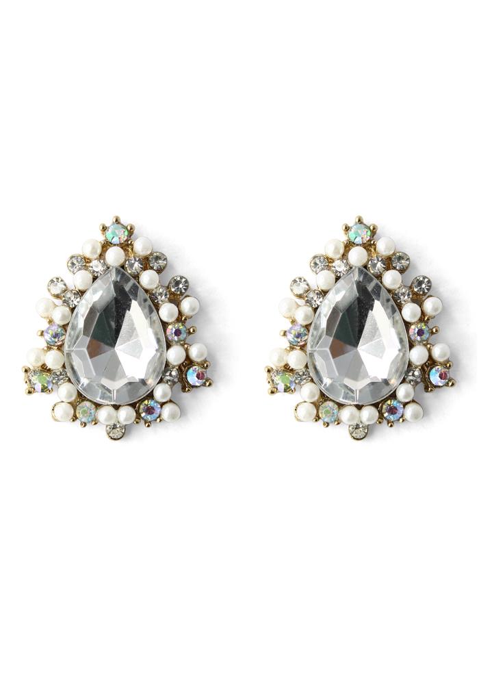 Diamond Teardrop Pearl Earrings