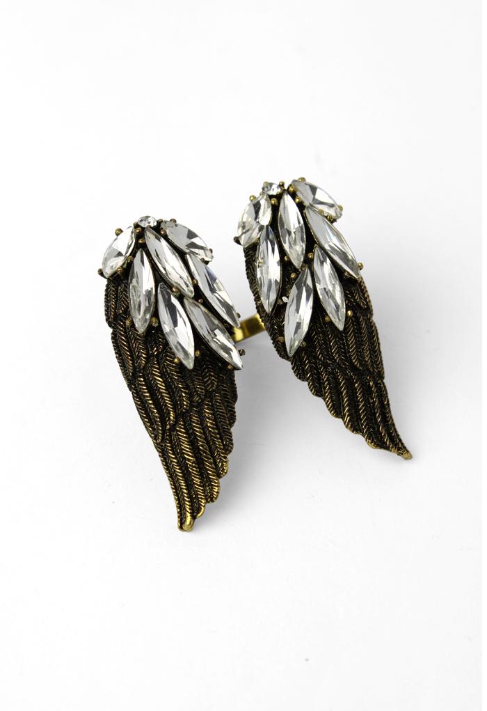 Angel Wings Shape Crystal Ring