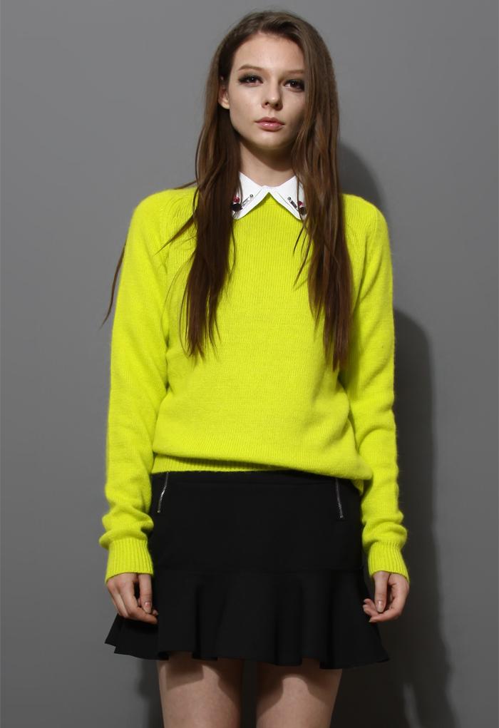 Neon Green Classic Angora Sweater