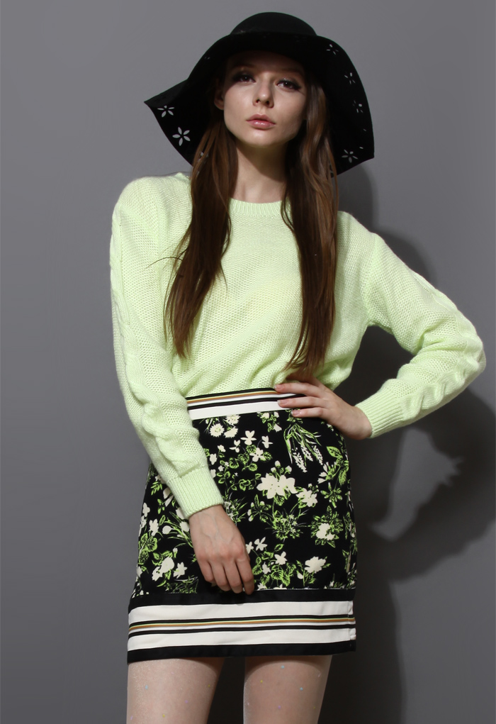 Neon Basic Sweater with Split Hem