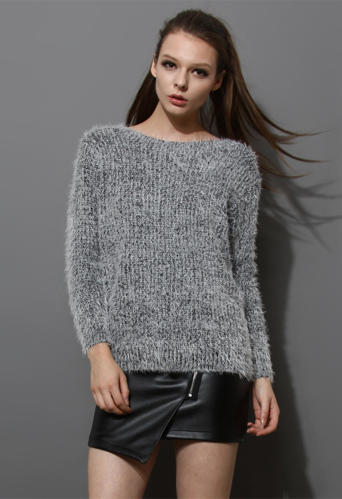 Basic Fluffy Sweater in Grey