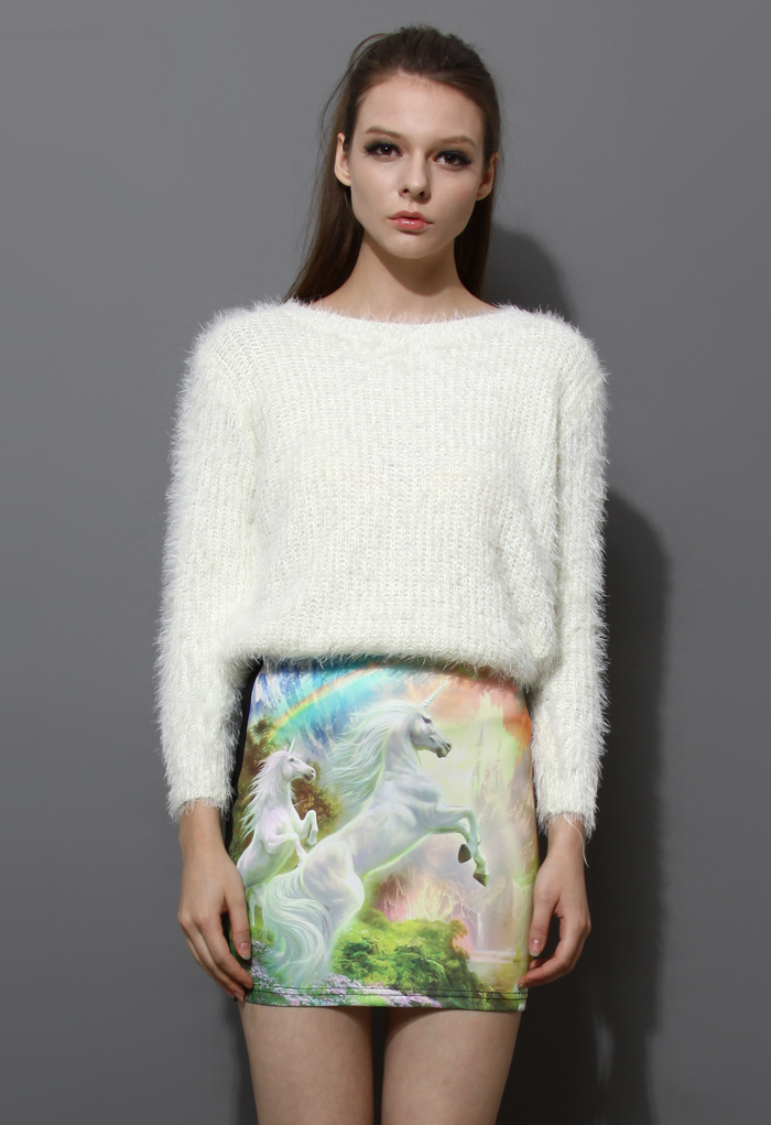 Basic Fluffy Sweater in White