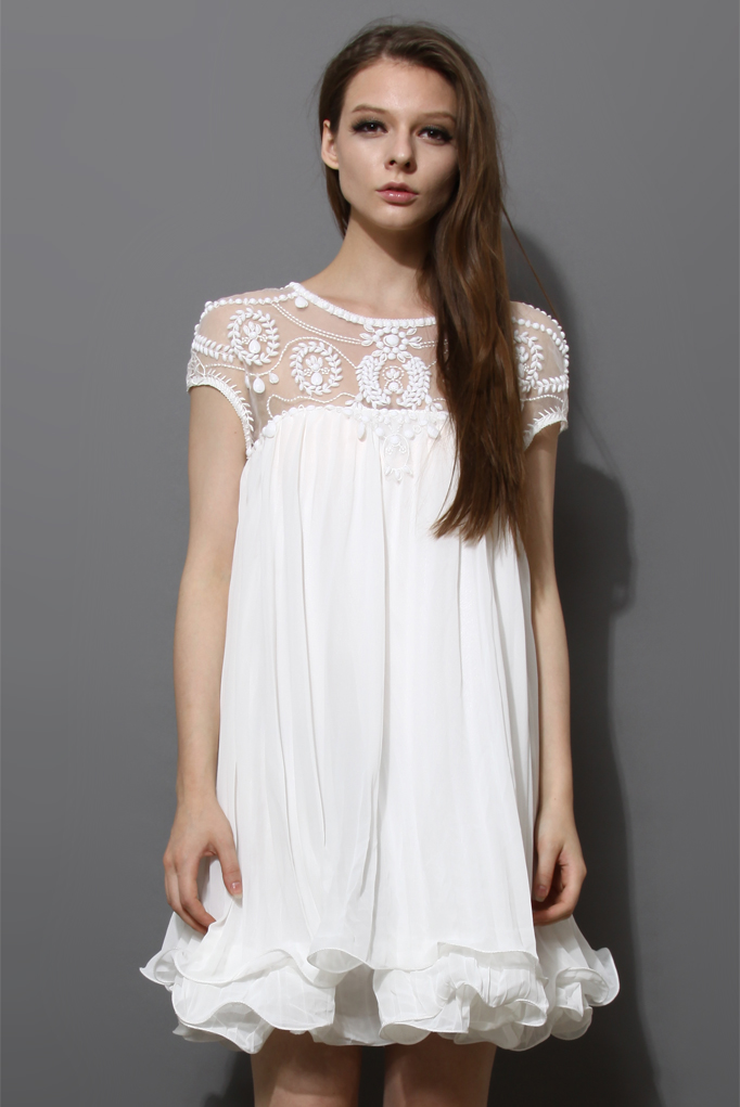 Beads Embellished Pleated Dolly Dress in White