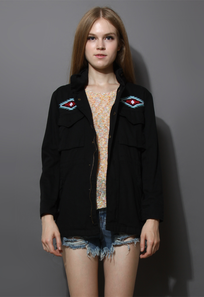 Aztec Embroidery Military Parka Coat in Black