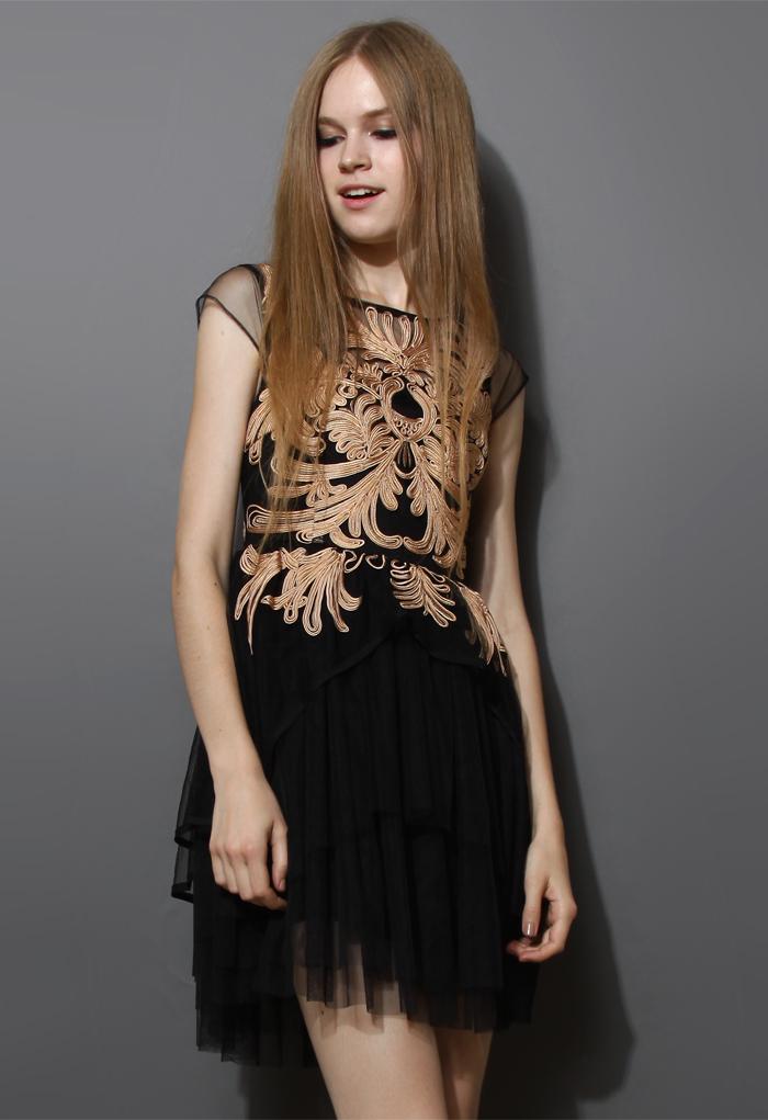 Golden Floral Embossment Black Tulle Dress