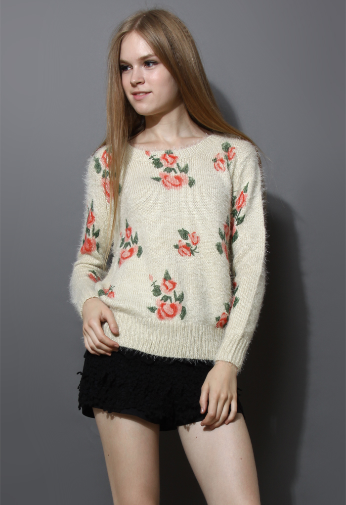Floral Print Fluffy Sweater in Ivory