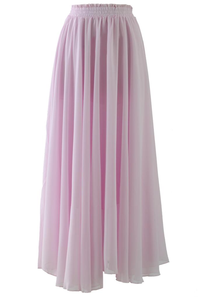 Light Pink Long Maxi Skirt