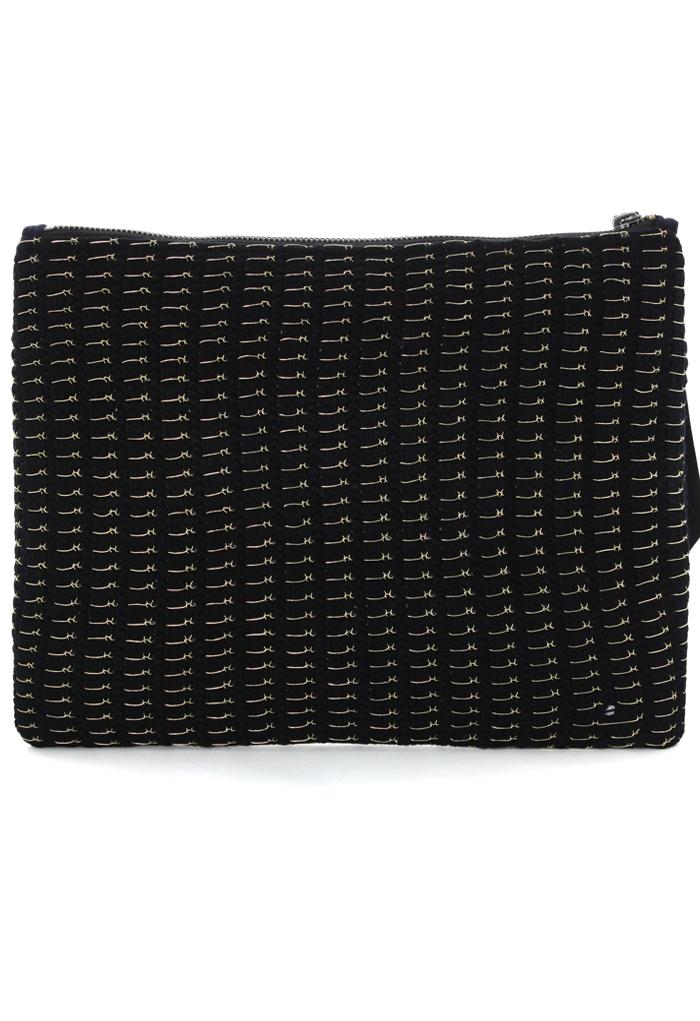 Gold-tone Stitch Clutch Bag