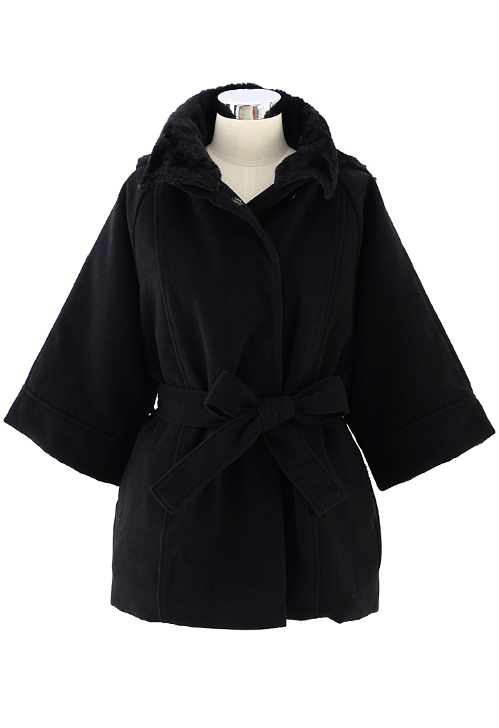 Black Faux Fur Mid-Sleeve Belted Cape Hooded Coat
