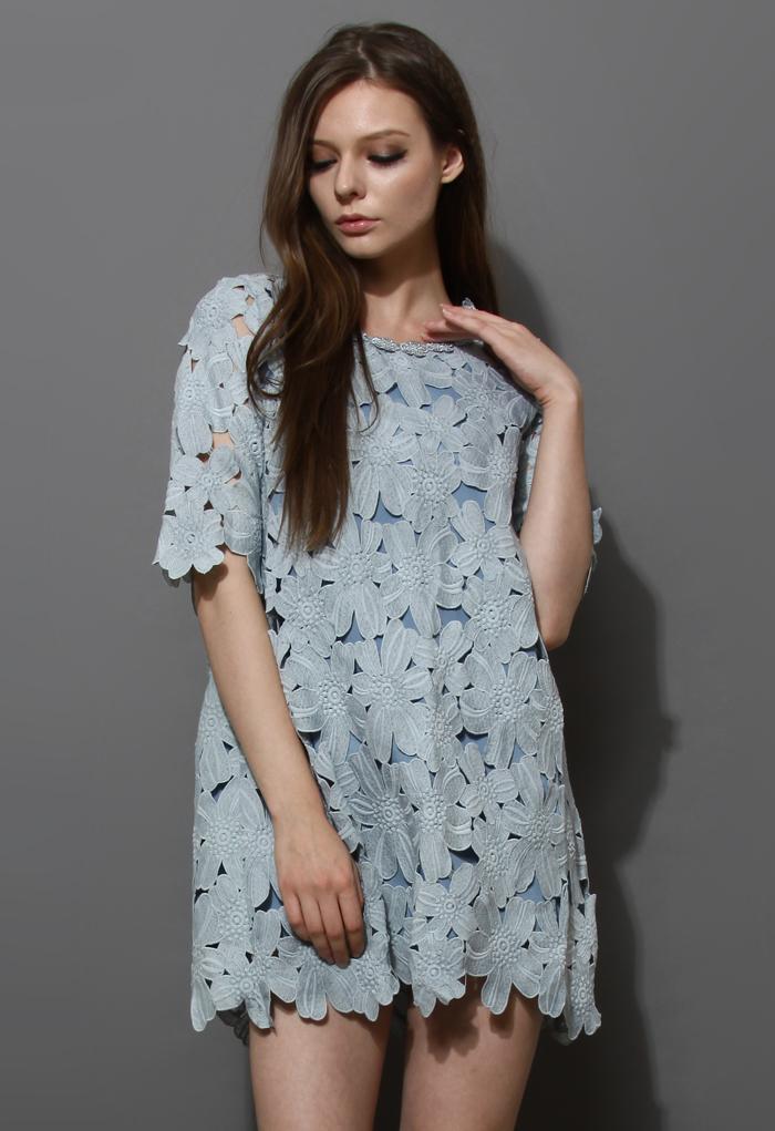 Full Flower Cut Crochet Blue Dress