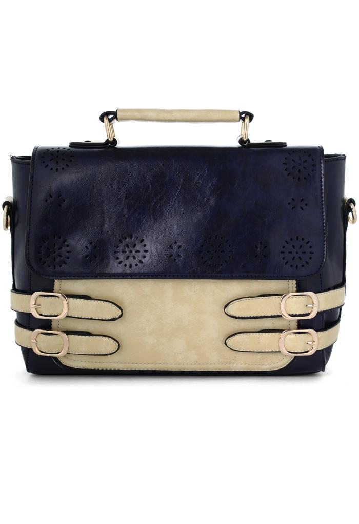 Color Block Satchel Bag with Belt Detail