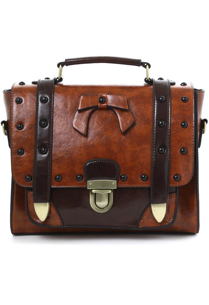 Studs Satchel Bag in Brown